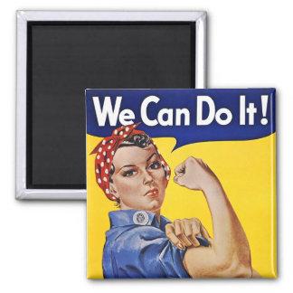 Magnet: We Can Do It  - Vintage Poster Image Square Magnet
