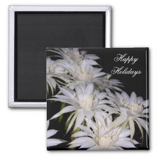 Magnet-White Christmas Cactus Happy Holidays Square Magnet