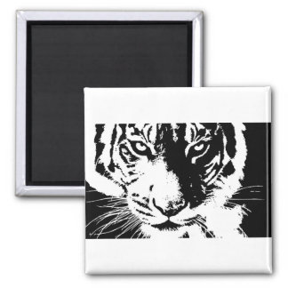 Magnet with black and white print Tiger