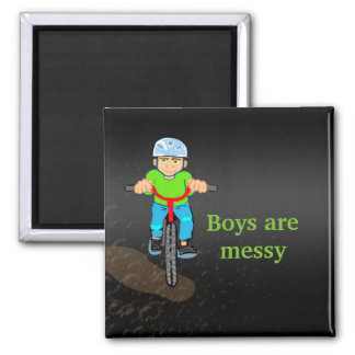 magnet with boy riding over a puddle