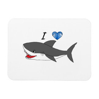 Magnet with cute I love sharks design
