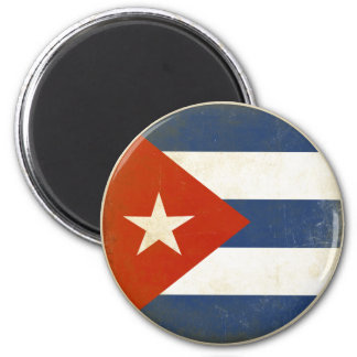 Magnet with Distressed Vintage Flag from Cuba