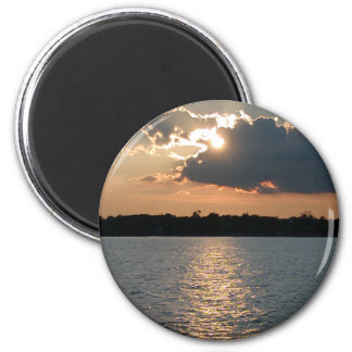 magnet with photo of silver-lining sunset
