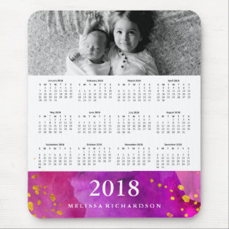 Magneta Watercolor and Gold 2018 Calendar | Photo Mouse Pad