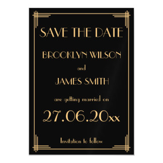 Magnetic Black Art Deco Wedding Save The Date Magnetic Card