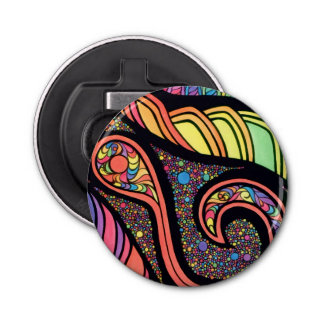 Magnetic Bottle Opener with Abstract Design