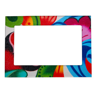 Magnetic photo frame - hand painted flowers