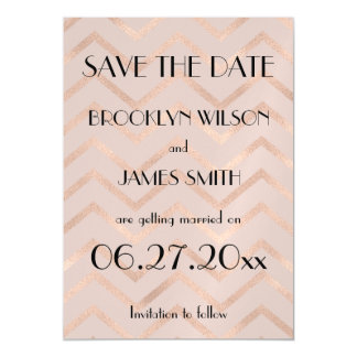 Magnetic Rose Gold Chevron Wedding Save The Date Magnetic Invitations