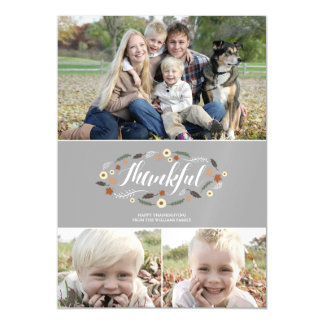 Magnetic Thankful, Thanksgiving Photo Card Magnetic Invitations