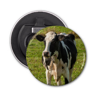 Magnetized bottle opener of photo baby of cow