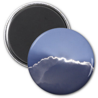 Magnetwith photo of cloud with silver lining 6 cm round magnet