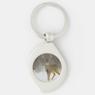Magnificent Deer, Swirl Metal Keychain Silver-Colored Swirl Key Ring