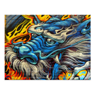 Magnificent Dragon Wall Art Graffiti Postcard