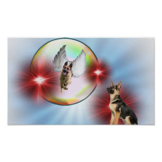 Magnificent German Shepherd Angel Flying Poster