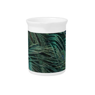 Magnificent Peacock Feathers Beverage Pitchers