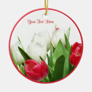 Magnificent Red and White Tulips Ornament
