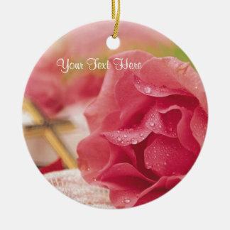 Magnificent Spiritual Dew Covered Pink Rose Round Ceramic Decoration