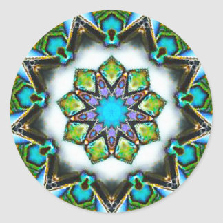 Magnificent Starry Paua Pattern Fractal Classic Round Sticker