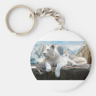 Magnificent White Tiger Mountain Backdrop Basic Round Button Key Ring