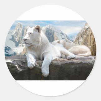 Magnificent White Tiger Mountain Backdrop Classic Round Sticker
