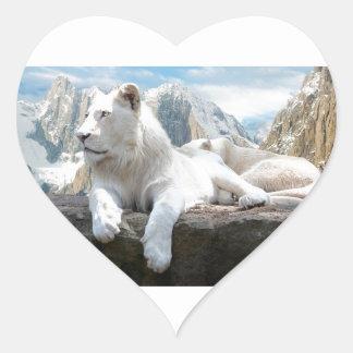 Magnificent White Tiger Mountain Backdrop Heart Sticker