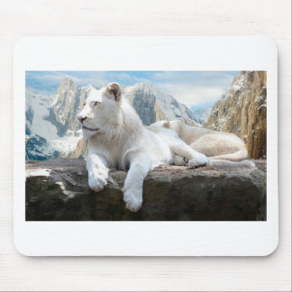 Magnificent White Tiger Mountain Backdrop Mouse Pad