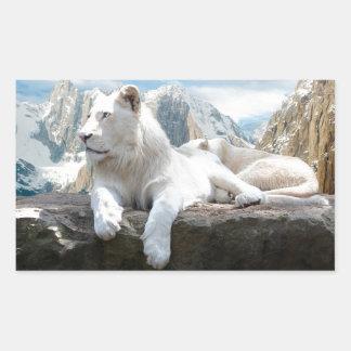 Magnificent White Tiger Mountain Backdrop Rectangular Sticker