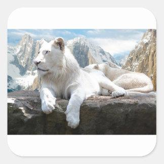 Magnificent White Tiger Mountain Backdrop Square Sticker