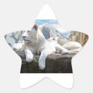 Magnificent White Tiger Mountain Backdrop Star Sticker