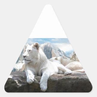 Magnificent White Tiger Mountain Backdrop Triangle Sticker