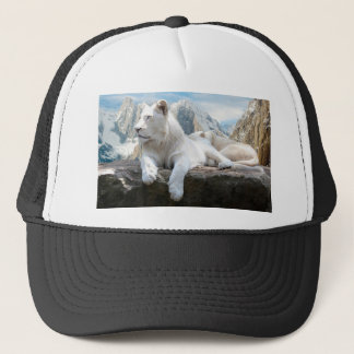 Magnificent White Tiger Mountain Backdrop Trucker Hat