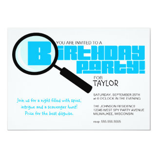"Magnifying Glass Blue Birthday Party Invitation 5"" X 7"" Invitation Card"