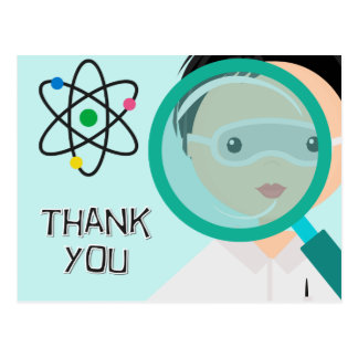 Magnifying Glass Boy Scientist Thank You Postcard