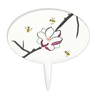 Magnolia and Honey Bees Cake Picks