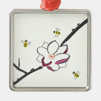 Magnolia and Honey Bees Silver-Colored Square Decoration