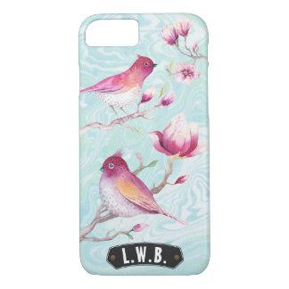Magnolia & Birds Monogram Pink Blue | Personalized iPhone 8/7 Case