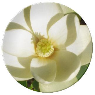 Magnolia Blossom Collectors Plate Wedding White