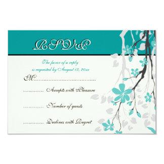 Magnolia branch turquoise wedding RSVP card Invitation