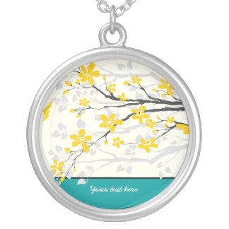 Magnolia branch yellow flowers silver pendant