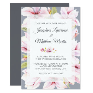 Magnolia Charm Floral Wedding Invitations