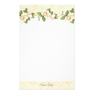 Magnolia- Damask Personalized Writing Paper