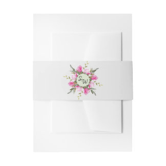 Magnolia Floral Watercolor Belly Band Invitation Belly Band