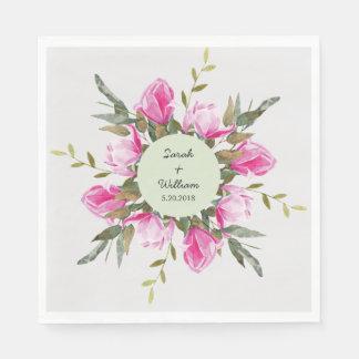Magnolia Floral Watercolor Paper Napkin
