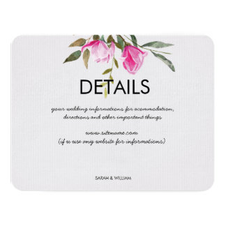 Magnolia Floral Watercolor Wedding Details Card