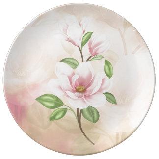 """Magnolia Flower 10.75"""" Decorative Porcelain Plate"""