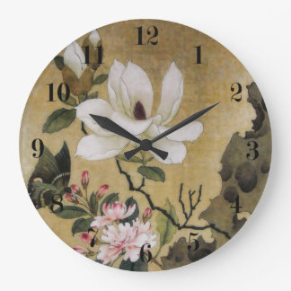 Magnolia Flower and Butterfly Ming Dynasty Large Clock