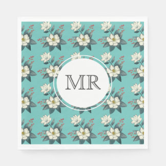 Magnolia Flower, modern vintage floral/personalize Paper Napkin