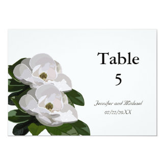 Magnolia Flower Modern Wedding Table Markers Card