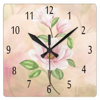 Magnolia Flower Peach And Cream Square Wall Clock