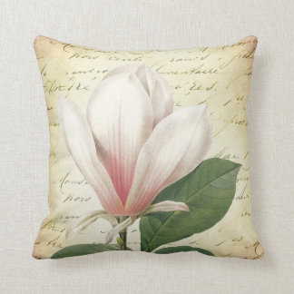 Magnolia Flower Vintage Botanical Throw Pillow